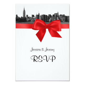 """NYC Wide Skyline Etched BW Red RSVP Menu 3.5"""" X 5"""" Invitation Card"""