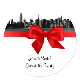 """NYC Wide Skyline Etched BW Red Sweet Sixteen SQ 5.25"""" Square Invitation Card"""