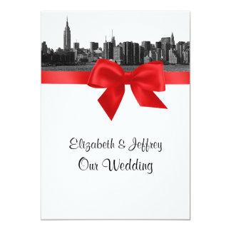 "NYC Wide Skyline Etched BW Red  Wedding 5"" X 7"" Invitation Card"