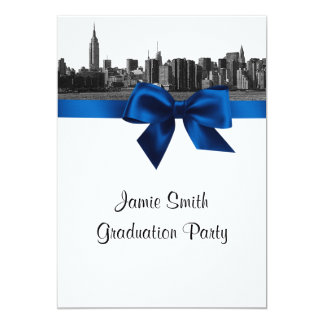 NYC Wide Skyline Etched BW Royal Blue Graduation Personalized Invite