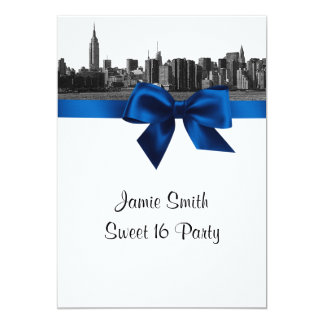"""NYC Wide Skyline Etched BW Royal Blue Sweet 16 5"""" X 7"""" Invitation Card"""