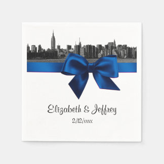 NYC Wide Skyline Etched BW Royal Blue Wedding Paper Napkin