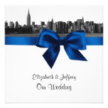 NYC Wide Skyline Etched BW Royal Blue Wedding SQ Personalized Invitation