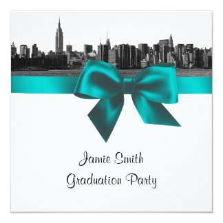 """NYC Wide Skyline Etched BW Teal Graduation SQ 5.25"""" Square Invitation Card"""