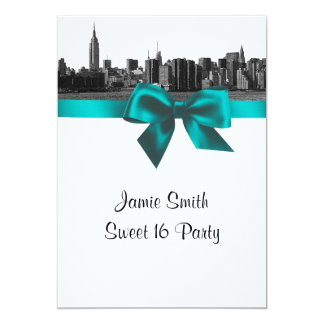 "NYC Wide Skyline Etched BW Teal Sweet Sixteen 5"" X 7"" Invitation Card"