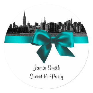 NYC Wide Skyline Etched BW Teal Sweet Sixteen SQ 5.25x5.25 Square Paper Invitation Card