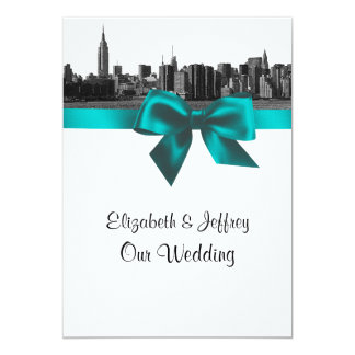 "NYC Wide Skyline Etched BW Teal  Wedding 5"" X 7"" Invitation Card"