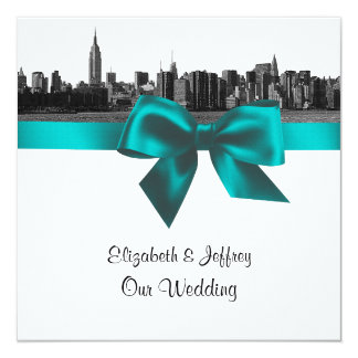 """NYC Wide Skyline Etched BW Teal  Wedding SQ 5.25"""" Square Invitation Card"""