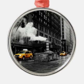 NYC Yellow Cab Silver-Colored Round Ornament