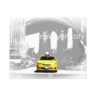 Nyc Yellow Taxi Brooklyn Bridge Pop Art Picture Canvas Print