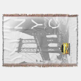 Nyc Yellow Taxi Brooklyn Bridge Pop Art Picture Throw Blanket