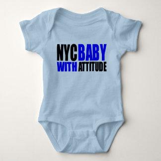 NycBabywAttitude_blue&blk Baby Bodysuit