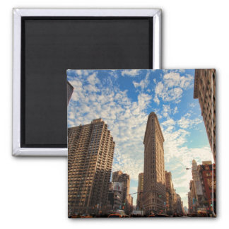 NYC's Flatiron Building, Wide View, Puffy Clouds Magnet