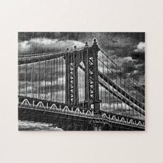 NYC's Manhattan Bridge BW A1 Jigsaw Puzzle