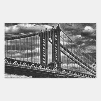 NYC's Manhattan Bridge BW A1 Rectangular Sticker
