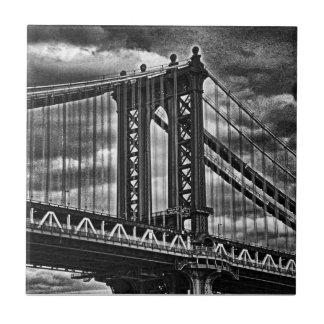 NYC's Manhattan Bridge BW A1 Tile