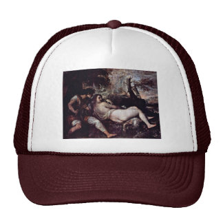 Nymph And Shepherd By Tizian (Best Quality) Trucker Hat