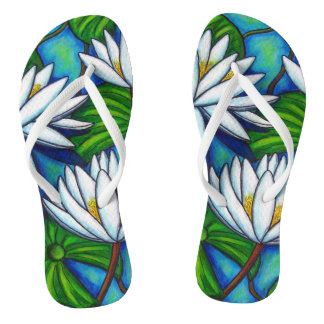 Nymphaea Blue Custom Adult, Slim Straps Flip Flops