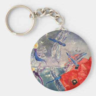Nymphs and Dragonfly Watercolor Painting Basic Round Button Keychain