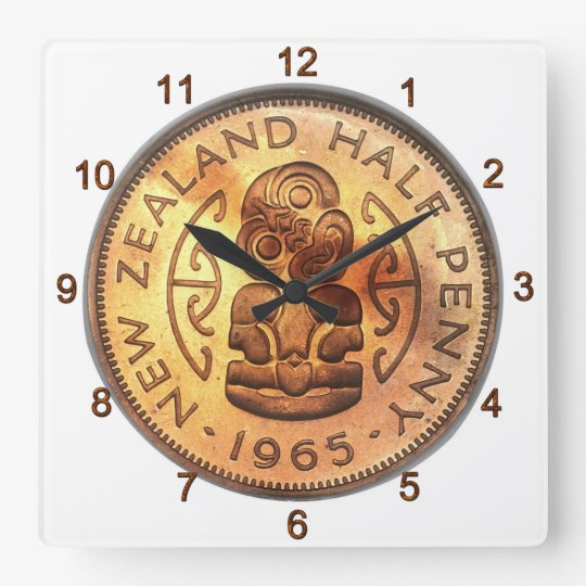 NZ New Zealand Half Penny Tiki Clock