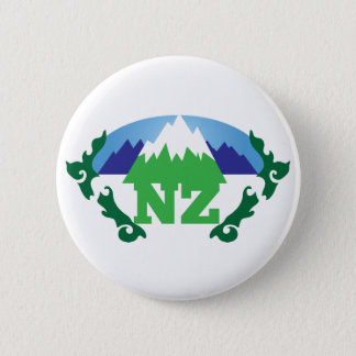 NZ (NEW ZEALAND) with a mountain range trendy 2 Inch Round Button