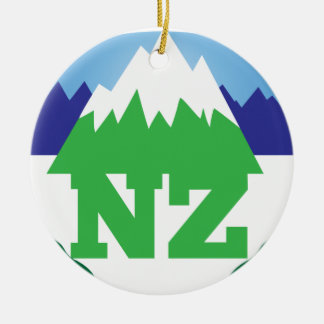 NZ (NEW ZEALAND) with a mountain range trendy Ceramic Ornament