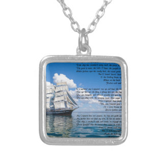 O' Captain, My Captain by: Walt Whitman Silver Plated Necklace