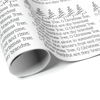 O Christmas Tree Typography Carol Themed Wrapping Paper