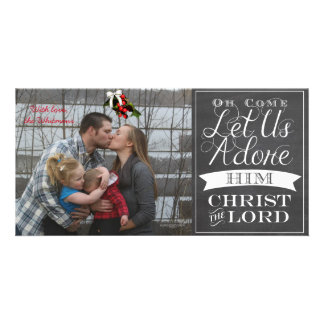 O Come Let Us Adore Him Greeting Card Customized Photo Card