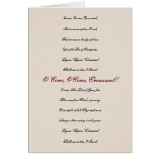 O Come, O Come, Emmanuel Lyrics Christmas Card