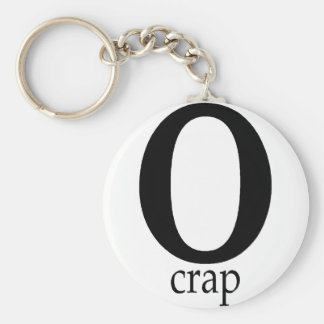 O Crap Basic Round Button Keychain