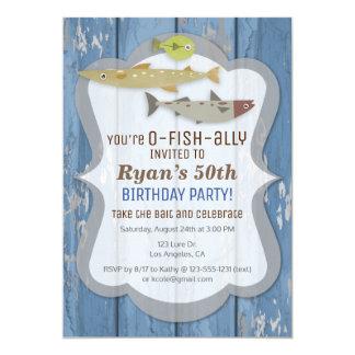 O-FISH-ALLY Fishing Birthday Party Invitation