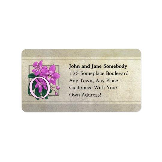 O for Orchids Flower Monogram Label