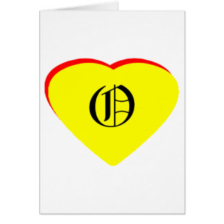 """""""O"""" Heart Yellow Red Wedding Invitation The MUSEUM Greeting Cards"""
