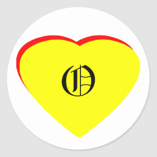 """""""O"""" Heart Yellow Red Wedding Invitation The MUSEUM Round Stickers"""