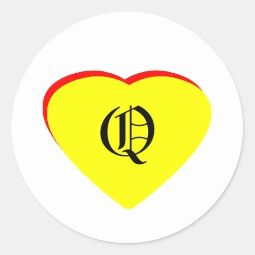 """O"" Heart Yellow Red Wedding Invitation The MUSEUM Round Sticker"