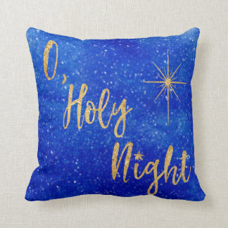O Holy Night Blue and Gold Glitter Throw Pillow