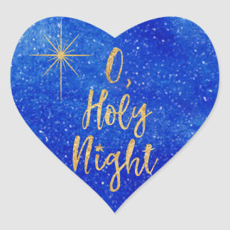 O Holy NIght Christmas Blue and Gold Heart Sticker