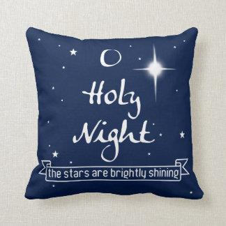 O Holy Night Christmas Throw Pillow - Blue