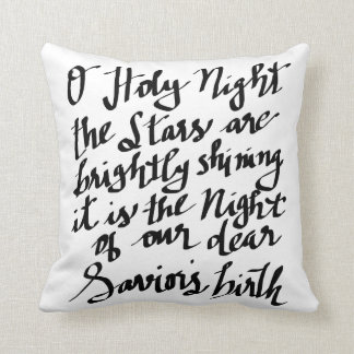 O Holy Night Hand Lettering Typography Black Throw Pillow