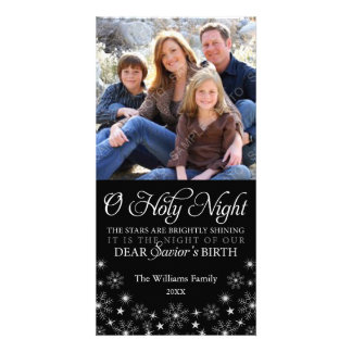 O Holy Night Religious Christmas Black Personalized Photo Card