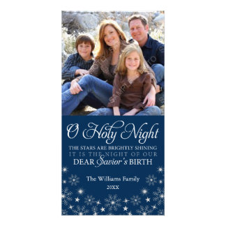 O Holy Night Religious Christmas Navy Blue Card