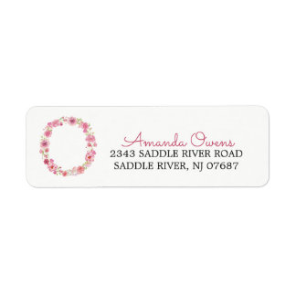 O Initial Floral Monogram  Return Address Label