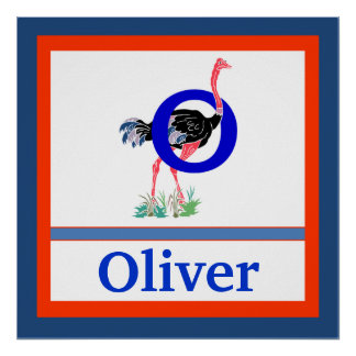 O is for Ostrich and Boy Name Wall Art for Kids