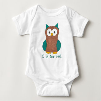 O is for Owl Brown Blue Wise Owl Bird Animal Baby Bodysuit