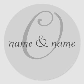 """O"" monogram label, personalize first names Classic Round Sticker"