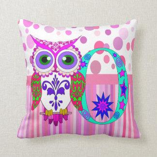 O Owl name initial Throw Pillow