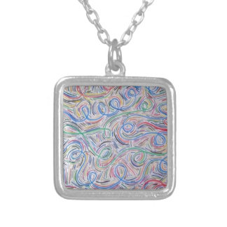 o squiggly line silver plated necklace