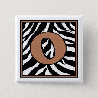 O-Zebra Skin Monogrammed Square Button
