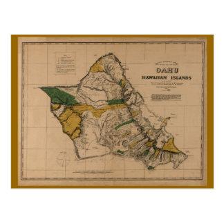 Oahu, 1881, Vintage Hawaii Map Postcard